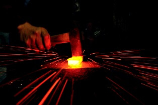 Echigo-Sanjo Cultery, a traditional Japanese crafts, making process of forging