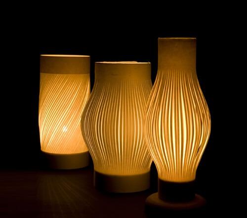 Uchiyama Washi Japanese paper, a Japanese traditional craft, product lineup of lamp shade series