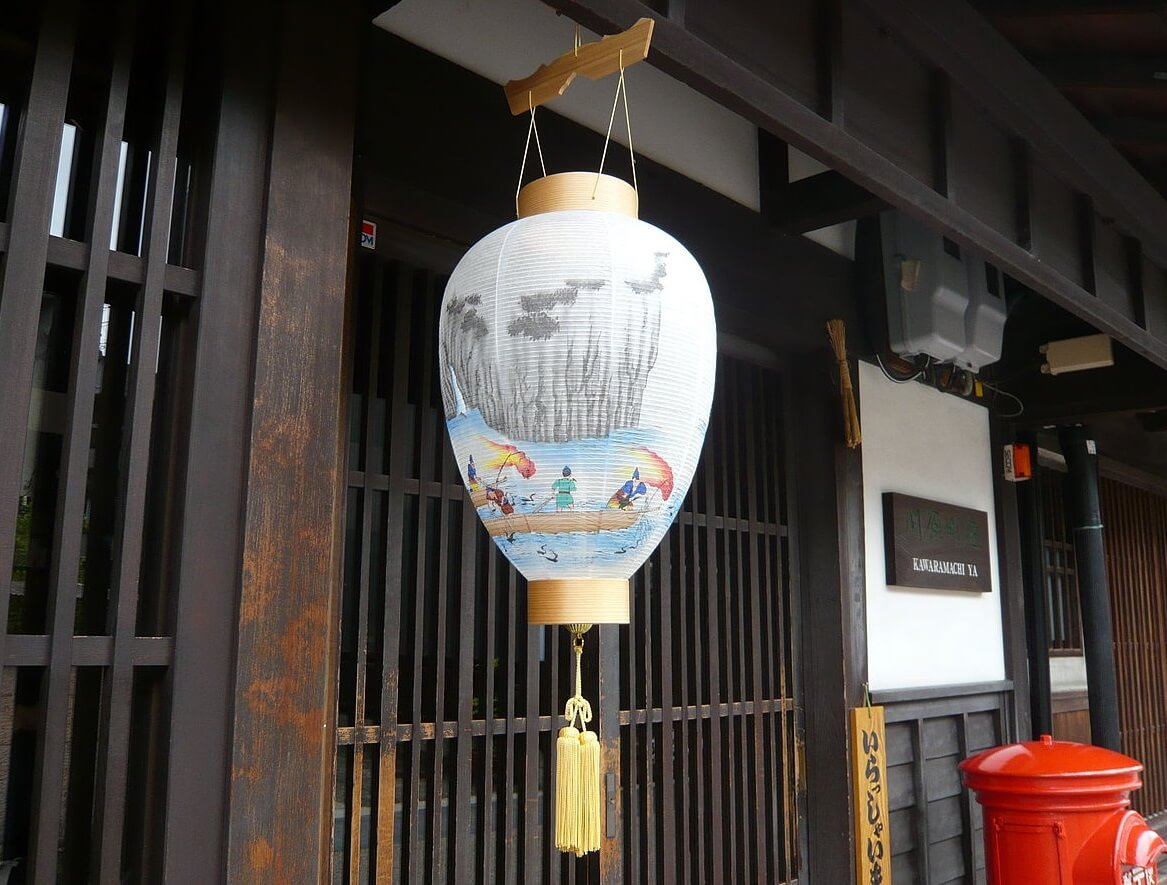 Gifu lanterns, a Japanese traditional craft, product using example: hang on a roof