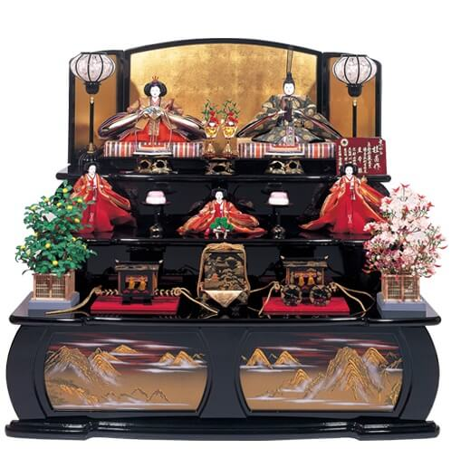 Suruga Hina Doll Accessories, a traditional Japanese craft, 3 layered Hina dolls set
