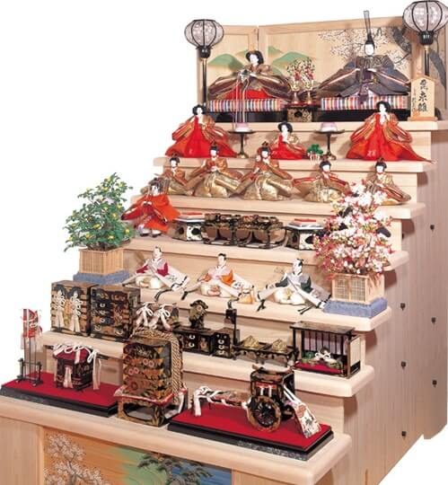 Suruga Hina Doll Accessories, a traditional Japanese craft, 7 layers Hina dolls set