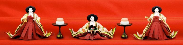 Hina dolls made in Suruga, a traditional Japanese craft, three court ladies Hina dolls