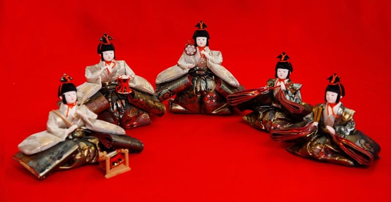 Hina dolls made in Suruga, a traditional Japanese craft, Gonin Bayashi (The Five Musicians)