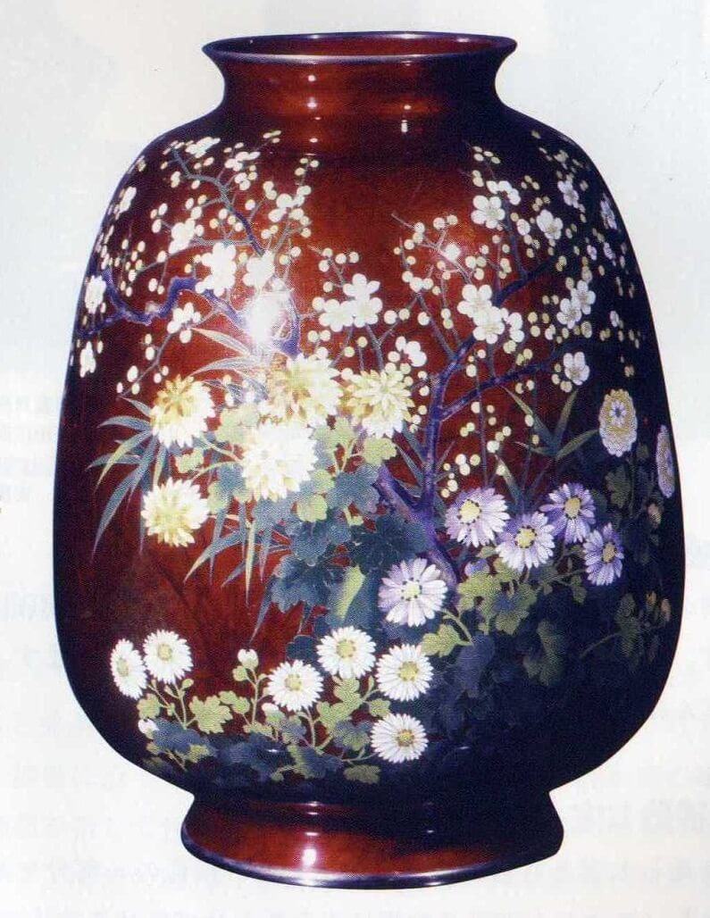 Owari Shippo 'Seven Treasures' Cloisonné Metalwork, a Japanese traditional craft, luxury flower vase (red)