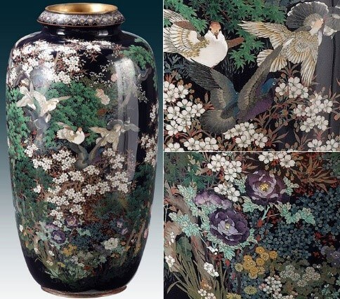 Owari Shippo 'Seven Treasures' Cloisonné Metalwork, a Japanese traditional craft, luxury flower vase details (black)