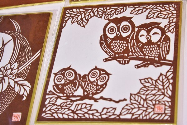 Ise Carving Paper, a Japanese traditional craft, picture of owls