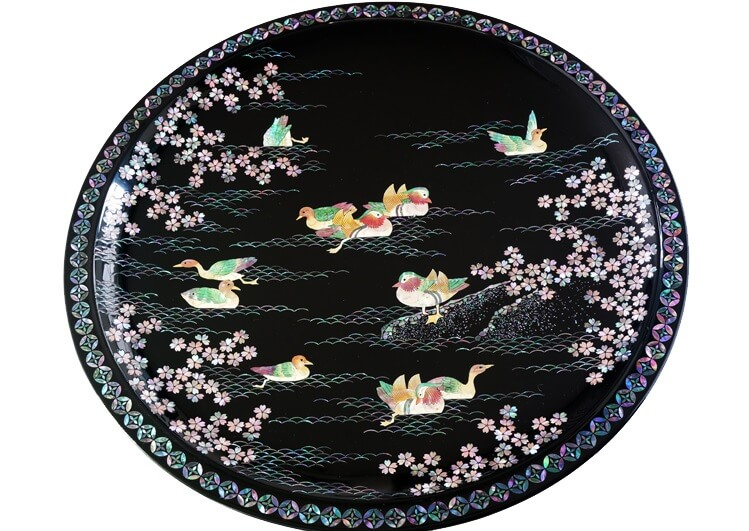 Takaoka Lacquerware, a Japanese traditional craft, lacquer tray round