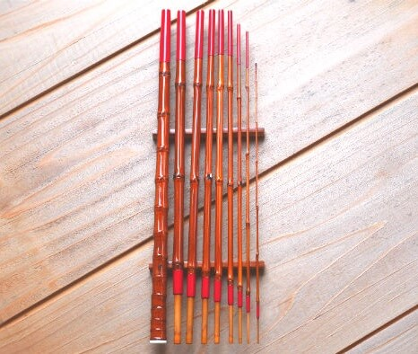 Edo bamboo fishing rod, a traditional craft of Japanese rod, entire view of a rod parts