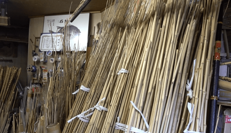 Edo bamboo fishing rod, a traditional craft of Japanese rod, rod material bamboos in sotckyard