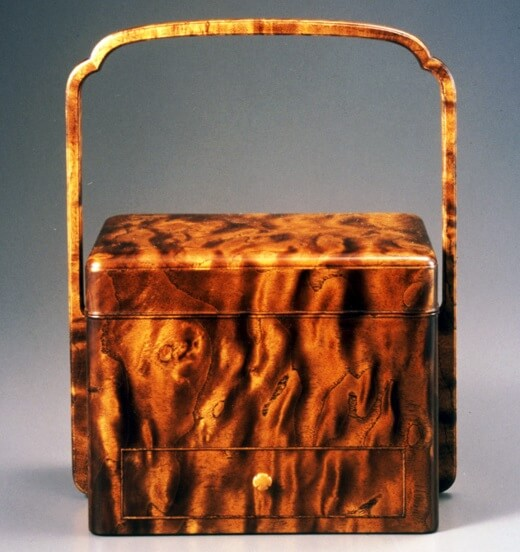 Japanese traditional craft, Edo woodworks, a drawer box with marble wood texture pattern