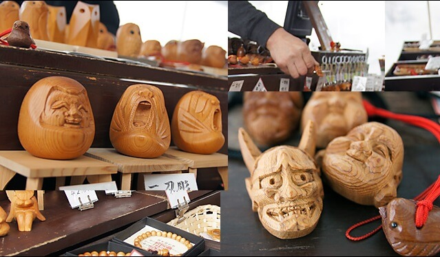 Hida Ichii one-knife carving, a Japanese traditional craft, products