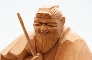 Hida Ichii one-knife carving, a Japanese traditional craft, details of grandpa object