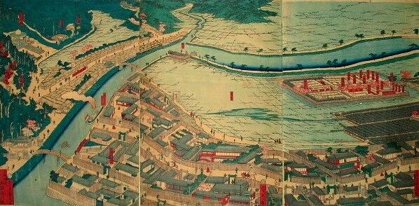 Kobe and Nagasaki, Japanese tourism spots, old time drawing map