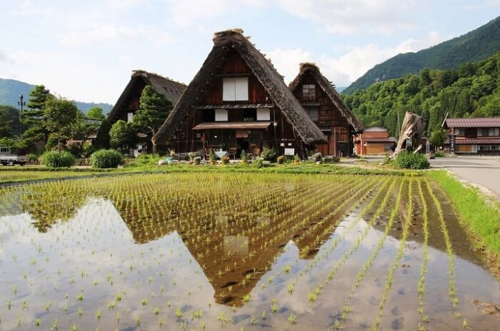 Hida Shunkei Lacquerware, a Japanese traditional craft, rural landscape of Hida region