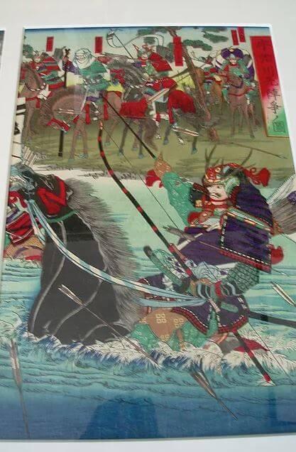Ukiyoe, Japanese woodblock print, a piece of Uji river war by Utagawa Toyonobu