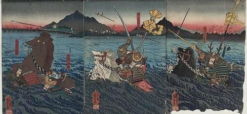 Ukiyoe, Japanese woodblock print, Ujii river war held in Boston museum