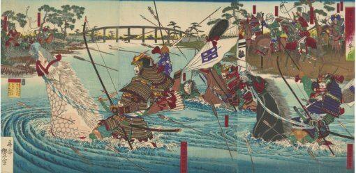 Ukiyo-e, Japanese authentic art, Uji River War by Utagawa Toyonobu