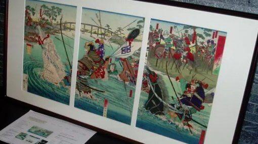 Ukiyoe, Japanese woodblock print, three pieces set of Uji river war by Utagawa Toyonobu