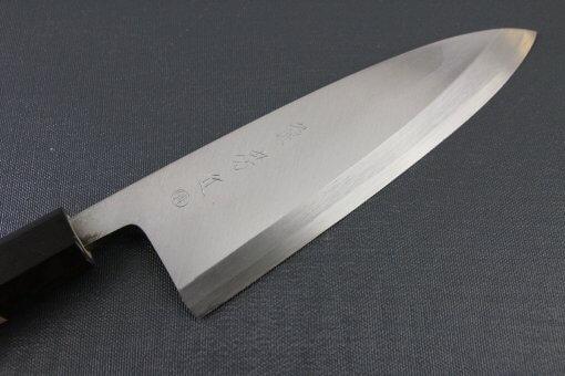 Japanese professional chef knife, Deba fillet knife, steel 180mm, details of blade front side