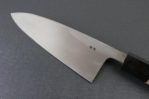 Japanese professional chef knife, Deba fillet knife, steel 180mm, details of blade backside