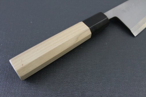Japanese professional chef knife, Deba fillet knife, steel 180mm, details of handle