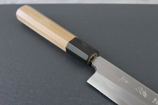 Japanese professional chef knife, Yanagiba sushi knife, steel 270mm, diagonal front view