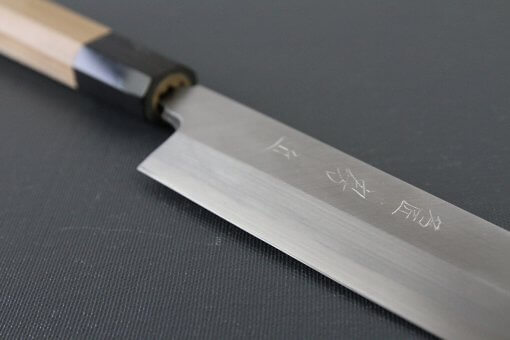 Japanese professional chef knife, Yanagiba sushi knife, steel 270mm, joint part of handle and blade