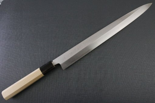 Japanese professional chef knife, Yanagiba sushi knife, steel 300mm, entire view