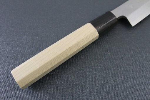 Japanese professional chef knife, Yanagiba sushi knife, steel 300mm, details of handle