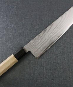 Toshu Santoku multi-purpose Japanese chef's knife, octagonal wood handle, entire view