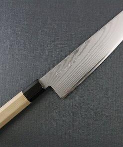 Toshu Santoku multi-purpose Japanese chef's knife, octagonal wood handle, entire view