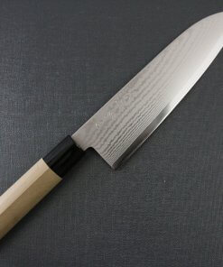 Toshu Santoku multi-purpose Japanese chef's knife, damascus blade and traditional wood handle, entire front view