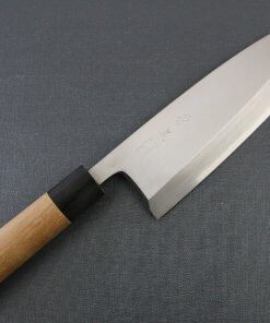 Japanese professional chef knife, Deba fillet knife, stainless steel 210mm, entire front view