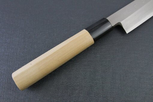 Japanese professional chef knife, Yanagiba Sushi knife, stainless steel 240mm, handle details