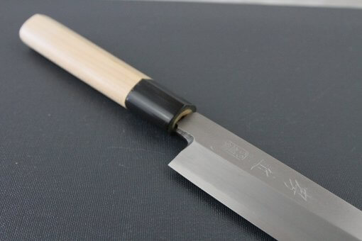 Japanese professional chef knife, Yanagiba Sushi knife, stainless steel 240mm, diagonal front view