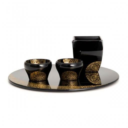 Sake-ware, Wajima Lacquerware, Sake Bottle/Cups/Tray Set, entire view