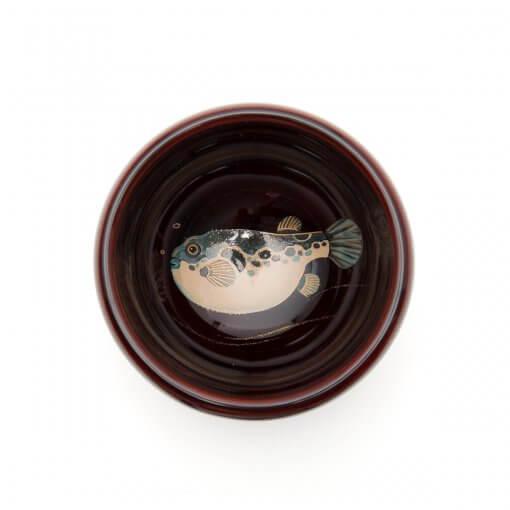Wajima lacquerware sake cups, mixed color with globefish