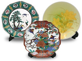 Kutani-Yaki Pottery and Porcelain, a famous Japanese crafts, decorative dishes
