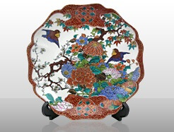 Kutani-Yaki Pottery and Porcelain, a famous Japanese crafts, expensive decorative dish