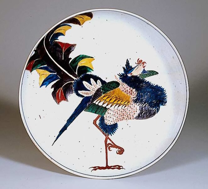 Kutani-Yaki Pottery and Porcelain, a famous Japanese crafts, antique Kutani as a Japanese art, bird painting