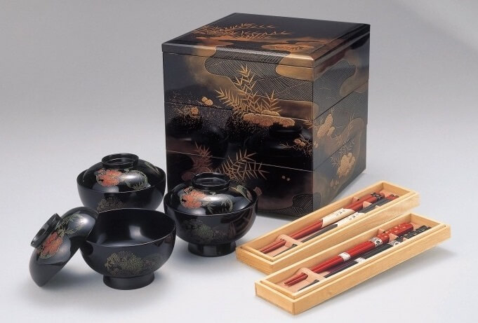 Wajima-nuri Lacquerware, a Japanese craft and art, soup bowls and multi-layer bento box with chop sticks
