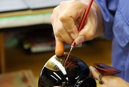 Wajima-nuri Lacquerware, a Japanese craft and art, making process of painting with gold