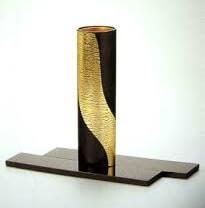 Kanazawa gold leafe, a Japanese traditional craftsmanship, flower vase round shape