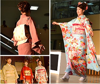 Nishijin-ori Textile, a Japanese traditional craft in Kyoto for Kimono, Kimono show in Nishijin museum