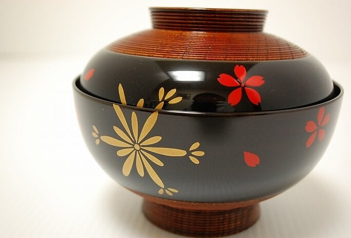 Kyoto lacquerware, a Japanese crafts, soup bowl
