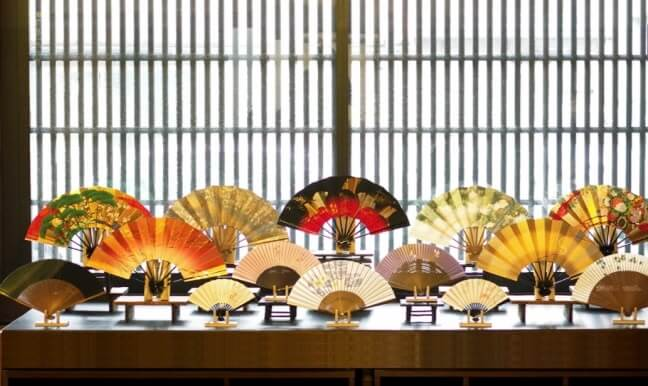 Kyoto Folding Fan, a Japanese traditional craft, various colored fans
