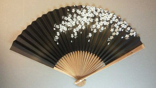 Kyoto Folding Fan, a Japanese traditional craft, black fan with flower drawing