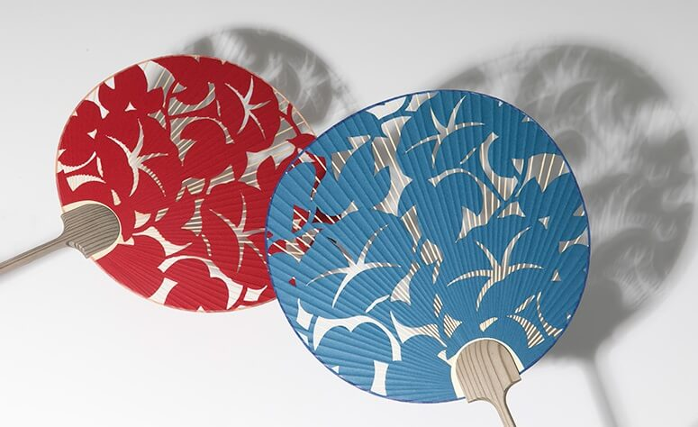 Kyoto Uchiwa Fans, a Japanese craft, red and blue fans
