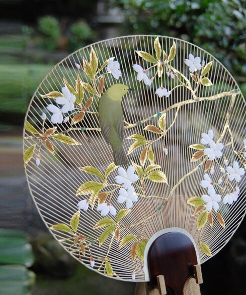 Kyoto Uchiwa Fans, a Japanese craft, gorgeous fan with gold foil