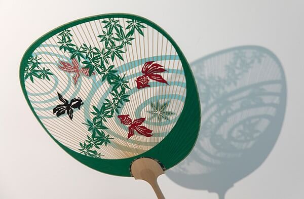 Kyoto Uchiwa Fans, a Japanese craft, fan of gold fishes design